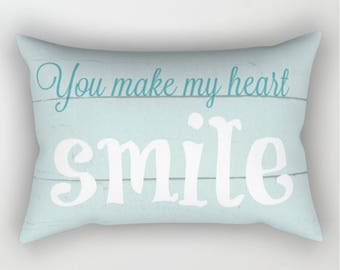 Rectangular Pillow, Throw Pillow, You Make My Heart Smile, Romantic Pillow, Shabby and Chic, Bed Decor, Cottage Home, Aqua Pillow