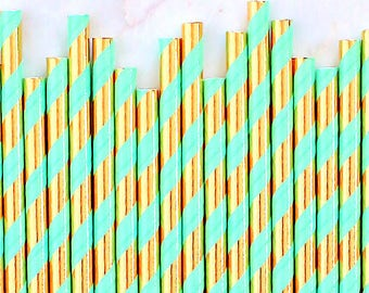 Mint Green & Gold Foil Paper Straws, Mint and Gold Foil Stripe Paper Straws, Gold Cake Pop Sticks, Pastel Paper Straws, Wedding Paper Straws