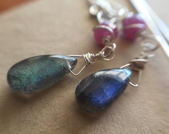 Luminous Labradorite Pear Teardrop Earrings in Sterling silver with Umba Sapphire