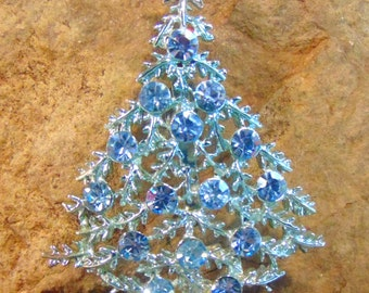 BOOK Piece Variation Signed  B.J. Vintage Christmas Tree Rhinestone Pin - Beatrix BJ