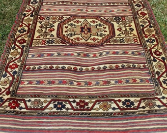 "Elaborately woven 6 ft  3""  x 4 ft 2"".  Qalaino Tribal Rug/Kilim. Traditional. 190 x 127 cm Tapis"