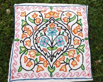 "Set of Three Hand made Crewel Kashmir Cushion Covers. 16 x 16"" . 40 cm x 41 cm. Price for three."