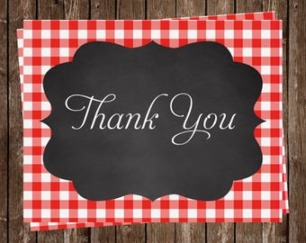 Wedding Shower Thank You Cards, Red, Gingham, Cookout, Chalkboard, Barbecue, Set of 24 Folding Notes, FREE Shipping, SIDBQ, Say I Do BBQ