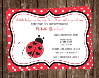 Ladybug, Baby Shower, Invitations, Girl, Little, Lady, Bug, Black, Red, Polka Dots, Hearts, 10 Printed Invites, FREE Shipping, Customized
