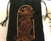 Dark Green Brushed Denim Bag With Embroidered Wizard -  Tarot, Oracle, Gaming Dice