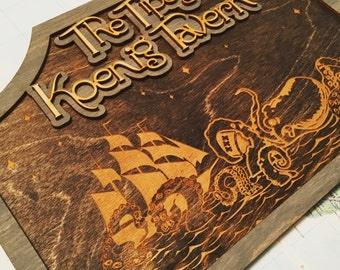Laser Cut and Engraved Wood Tavern Sign custom Name with Giant Drunk Octopus and Pirate Ship