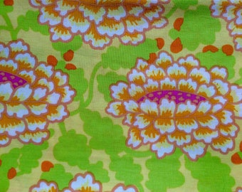 Kaffe Fassett OOP, rare, Frilly, lime, half yard large repeat floral fabric