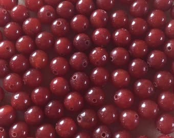 30 x 8mm dark red dyed jade round beads