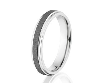 Men's Cobalt Ring, Sandblast Finish, Comfort Fit Wedding Band 4mm: COB-4RC-SND