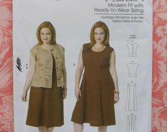 Dress and Jacket Sewing Pattern UNCUT Butterick B5620 Sizes XXL-6X Plus Size