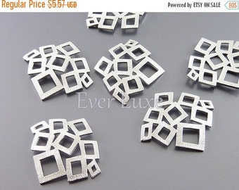 15% SALE 4 small abstract multi-square charms, geometric pendants,supplies for making jewelry / jewellery 1483-MR-SM (matte silver, Sm, 4 pi
