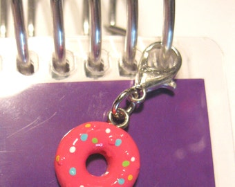 Purse or Planner charm pink with sprinkles donut charm lobster clasp tibetan silver travelers notebook TN Midori Erin Condren