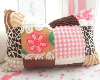 COTTAGE HOME DECOR Vintage Chenille And Minky Fabric Patchwork Quilt Style Pillow Sham Leopard Fabric