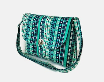 Turquoise Small Crossbody Bag Purse - Messenger Bag with Flap - Twist Turn Lock Closure - Small Shoulder Bag - Adjustable Strap
