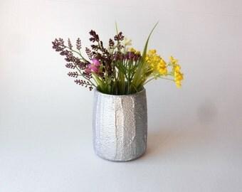 small silver vase / short vase / silver Home Decor / made to order/ metallic silver  home decor