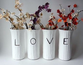 LOVE Set of 4 vases / mantle decor / white vases / Valentines Day / Gift for your LOVE