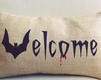 VELCOME vampire welcome Halloween burlap (hessian) pillow cover hessian cushion cover