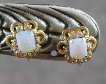 Vintage 12K Gold Filled Faux Opal Rhinestone Screw Back Earrings