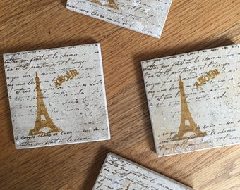 Eiffel Tower Coasters Paris France French Coasters Amour Stone Tile Drink Coasters - Home Decor or Perfect for World Traveler - Set of 4