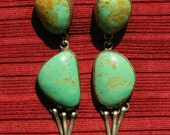 Long Navajo Sterling Silver Turquoise Dangle Earrings