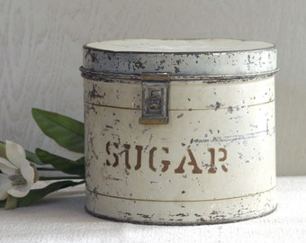 Vintage Sugar Tin circa 1930s - Chippy Green Painted Tin with Hasp - Kitchen Home Decor