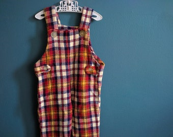 Vintage Children's Plaid Wool Overalls - Size 2T 3T