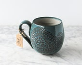 Ready to ship: 14 oz. Handmade Mug, Paisley, Teal/Turquoise