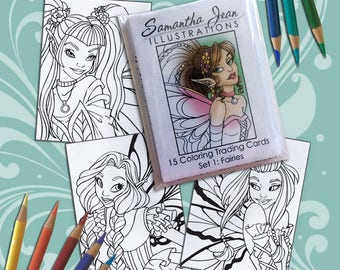 Fairy Themed Coloring Trading Cards, Adult Coloring, ATC Cards, Small Coloring Pages, Coloring Cards, Fantasy Coloring Pages