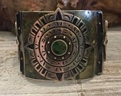 Scorpio Birthday SALE Amazing Aztec Mid Century Mexican Los Ballesteros Sterling Silver Stone Inlay Vintage Bracelet Singed