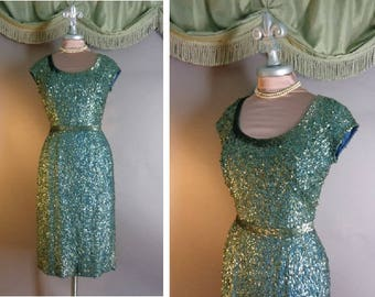 50s dress 1950s vintage Unusual color TEAL BLUE SEQUINS beaded silk crepe hourglass bombshell dress