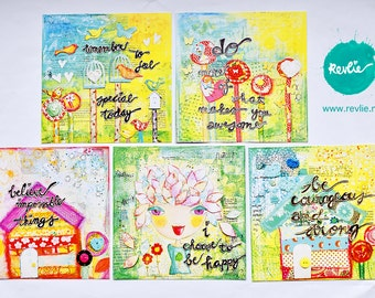 """NEW 1 set (5) of whymsical post cards mixed media style """"COURAGEOUS"""""""