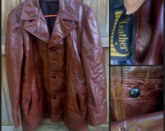 Mahogany leather jacket L/XL (1970's)