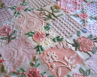 """Boutique Quality - """"Butterfly Garden"""" -  Handmade  Vintage Chenille Baby or Toddler Quilt - Custom Order"""