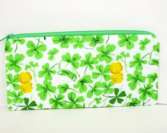 Zippered Pencil Pouch, Green Clover Grasshopper, Heather Ross