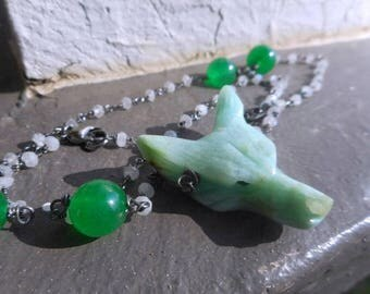 Wolf In Sheep's Clothing XV Carved Mint Green Chrysocolla Wolf Head Pendant, Green Jade & Moonstone Rosary Bead Necklace Occult Goth