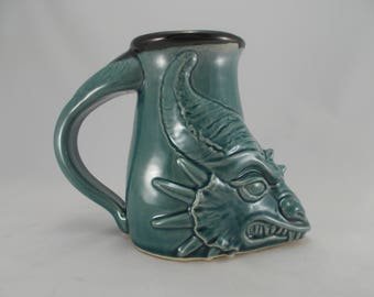 Dragon Head Sculpture Beer Stein in Teal Blue Handcrafted Stoneware Original Design Fantasy Art, Festival Costuming, Gamer's Mug, Home Bar,