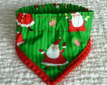 "Dog Bandana, Dog Scrunchie, Dog Collar, Waving Santa Bandanchy with fixed pom pom trim - Size M: 14"" to 16"" neck"