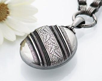 Victorian Locket & Collar Chain   Sterling Silver Antique Locket Necklace   1876 English Hallmark   Victorian Bolt Ring - 17.75 Inch Chain