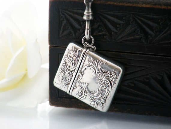 Antique Stamp Case | Sterling Silver Locket | Victorian Chatelaine Stamp Case | Forget-Me-Nots | Sterling Silver Fob Clip - 34 Inch Chain