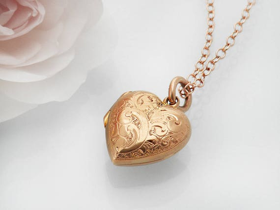 Antique Locket | Solid 9ct Rose Gold Victorian Locket | .375 English Hallmarks, Tiny Rose Gold Heart Wedding Locket Necklace - 20 Inch Chain