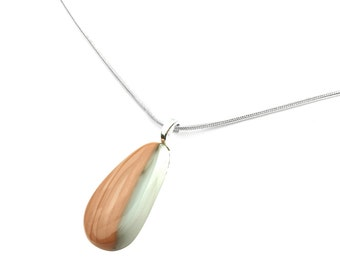 Pendant Necklace, Earthy Neutral Beige and Pale Sage Green, Stained Glass