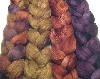 Wonder Bundle Polwarth & tussah silk roving 9.8 oz Moon Glow - hand dyed spinning felting fiber bundle - fall wool top set - earthy fiber