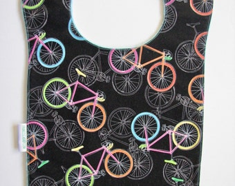 Bib, Large Bib, Bicycles, Toddler Bib, Baby Bib, Food Bib, Reversible Bib, Minky Bib, Oversized Bib, Ready to Ship, Baby Shower Gift