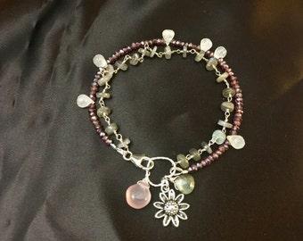 Garnet Moonstone and Labradorite Bracelet, Multi-Strand Gemstone Bohemian Bracelet, Bohemian Style JSundance Style jewelry