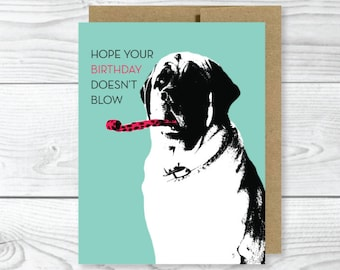 Funny Dog Card, Mastiff Birthday Card