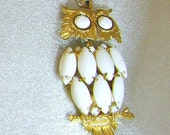 FALL SALE RESERVED for Rod Vintage Pendant Owl Huge Milk Glass Articulated Retro