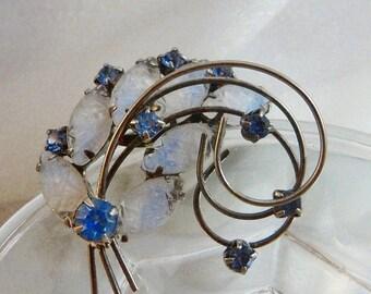 ON SALE Vintage Molded Glass Brooch. Blue Art Glass and Rhinestones