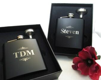 Custom Engraved Flask Gift Set, Groomsman Groomsmen Gift, Momogrammed Flasks, Best Man Gift, Personalized Wedding Keepsake Flask with Funnel