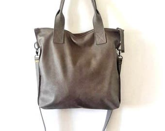 GRAY leather tote - Handbag - Cross-body bag - Every day bag - Women bag - Shoulder leather bag