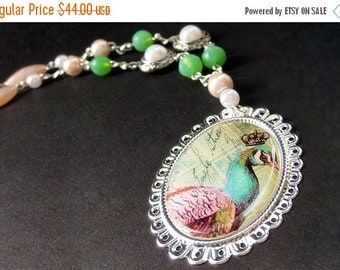VALENTINE SALE Peacock Necklace. Beaded Necklace. Bird Necklace. Mint Green Necklace. Pink Necklace. Silver Necklace. Handmade Necklace. Han